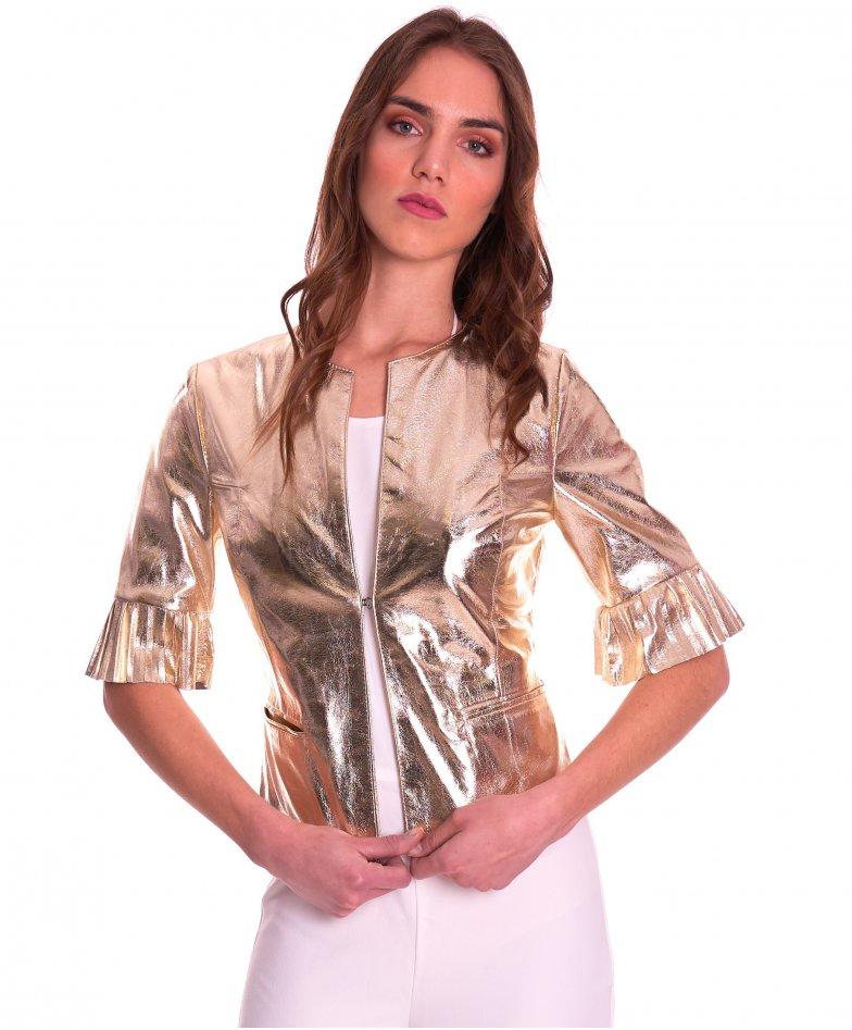 CLEAR PLISSE • goldene Farbe • glatte Nappaleder-Rundhals-Jacke gefaltete Hülse