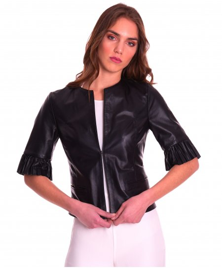 CLEAR PLISSE • schwarze Farbe • glatte Nappaleder-Rundhals-Jacke gefaltete Hülse