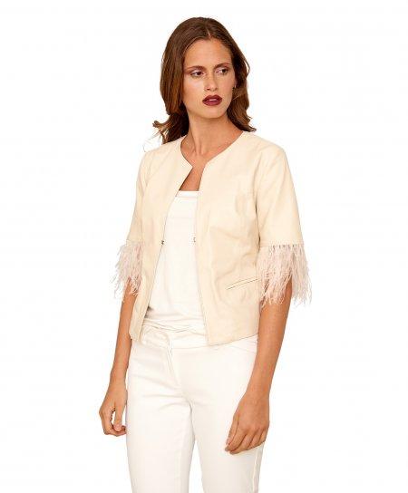 MISS PIUMA • beige Farbe • kurze Jacke aus Nappa-Rundhals-Leder mit glattem Effekt