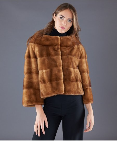 Giacca in pelliccia di visone collo vulcano • colore zaffiro