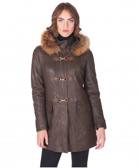 dunkelbraun mantel aus naturleder mit fellkapuze