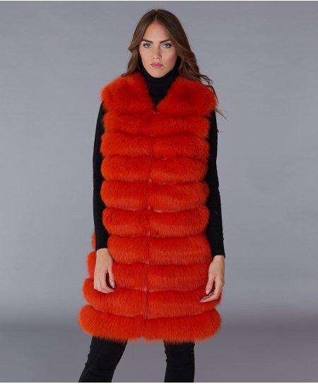 Fuchspelzweste mit Hakenverschluss • orange Farbe