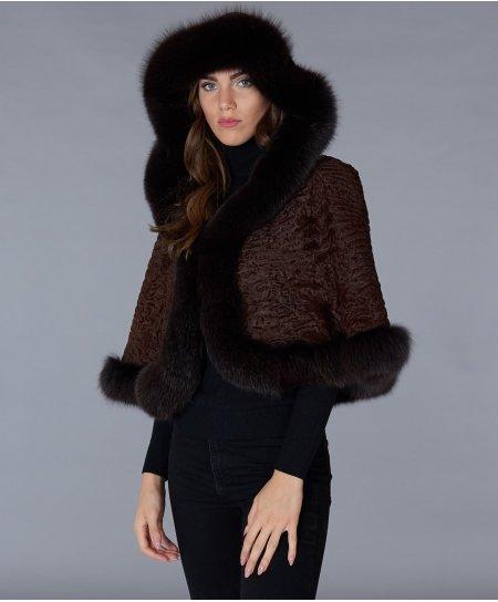 Perserfell und Fuchs jacke mit kapuze • Mahagoni Farbe