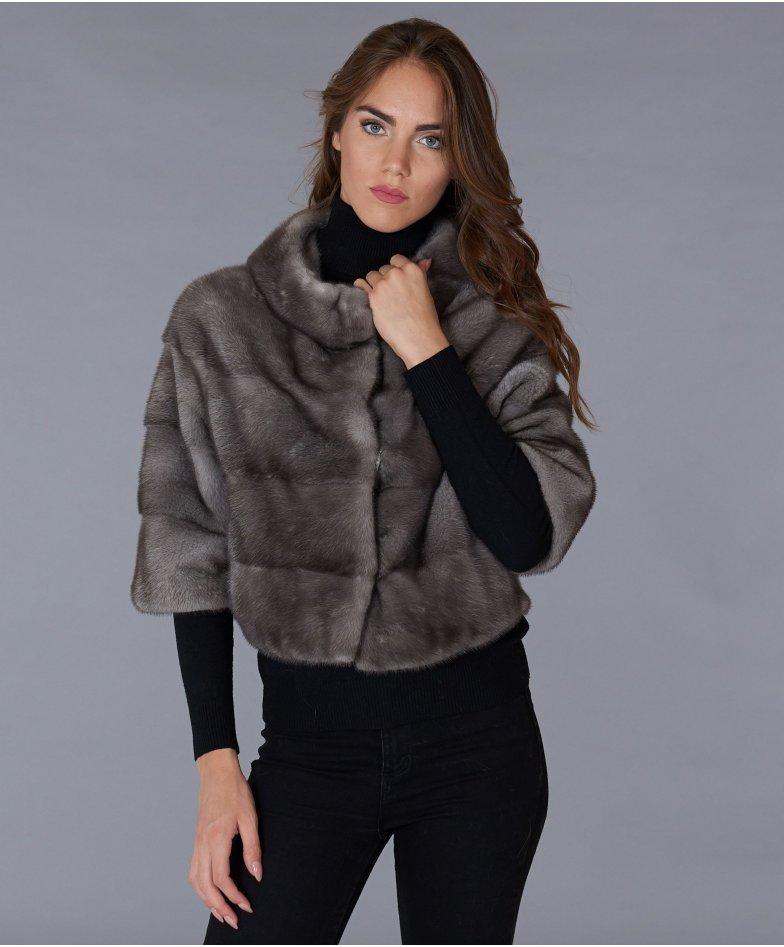 Jacke aus Nerz mit Ringpelzkragen • graue Farbe
