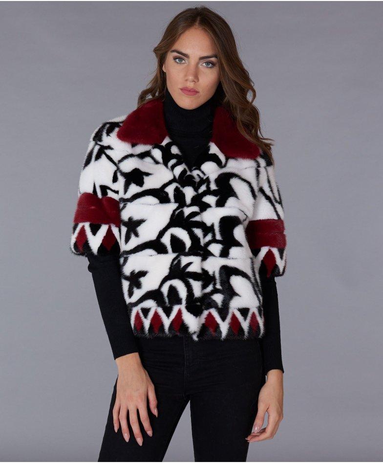Jacke aus Nerz mit Pelzkragen und 3/4 Ärmeln • weiß schwarz