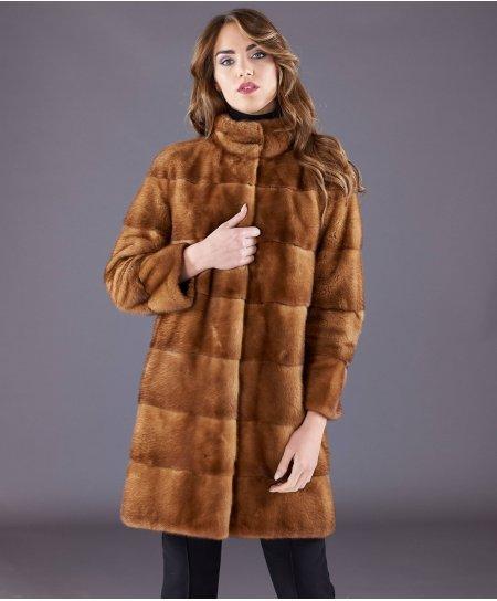 Mantel aus Nerz  Ringkragen und langen Ärmeln • Honig Farbe