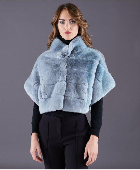 Jacke aus Kaninchenfell in kurzämlig • saphir Farbe
