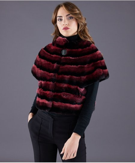 Jacke aus Kaninchenfell horizontale Linien • rote Farbe