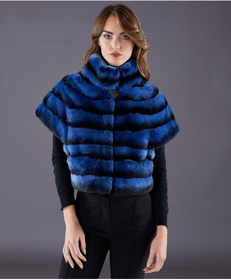 Jacke aus Kaninchenfell horizontale Linien • blaue Farbe