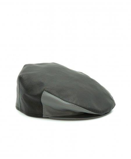 Schwarze Herrenmütze Ledercap graues Kontrastvisier