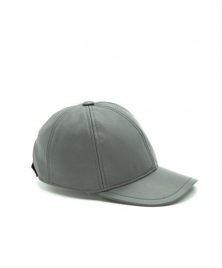 Graue Unisex Ledercap Kappe Verstellbarer Klettverschluss