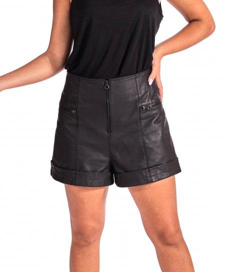 Schwarze kurze Lederhose naturlische leder vintage-effekt