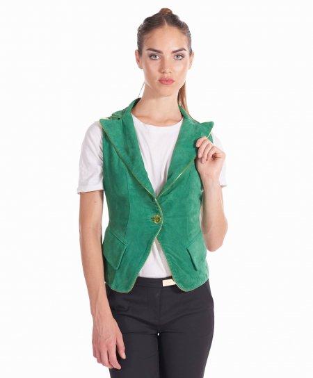 Grüne farbe bikerlederweste wildleder Knopfverschluss