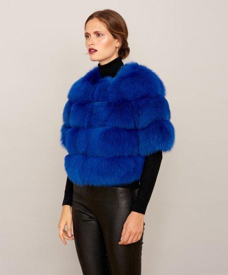 Giacca in pelliccia di volpe con manica corta • colore blu