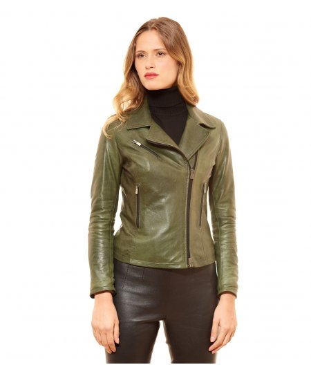 PAOLA • colore verde • giacca in pelle biker pull up effetto vintage